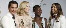 (L-R) Best actor winner Matthew McConaughey, best actress winner Cate Blanchett, best supporting actress winner Lupita Nyong