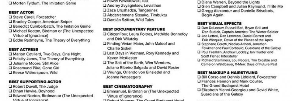 Academy Awards printable ballot 2015