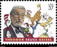 Theodor Geisel, a.k.a. Dr. Seuss, shown here on a commemorative stamp honoring his timeless storybook characters, is the subject of one script that landed atop the 2012 Black List for top unproduced screenplays.