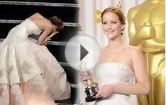 Best Actress winner Jennifer Lawrence falls over at Oscars