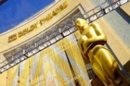 View of the Oscar statue in front of the Dolby Theatre at the 88th Annual Academy Awards red carpet roll out held at Hollywood & Highland, Hollywood, California, on February 24, 2016. (Valerie Macon/AFP/Getty Images)
